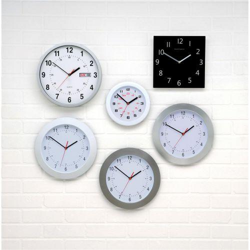 5 Star Facilities Wall Clock with Coloured Case Diameter 300mm Dark Grey