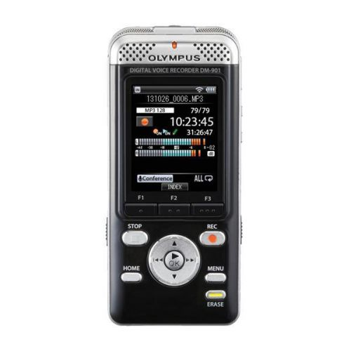 Olympus DM-901 Conference Kit with Digital V-Recorder Microphones Remote Control Silver Ref V407141BE020