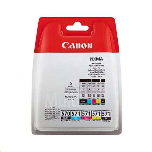 Canon PGI-570/CLI-571 InkJet Cartridge Cyan/Magenta/Yellow 7ml /Black 15ml/7ml Ref 0372C004 [Pack 5]