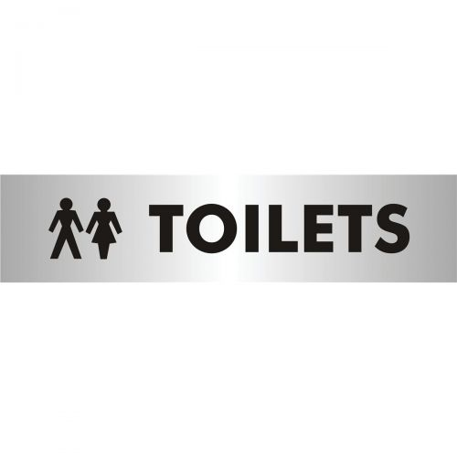 Stewart Superior Toilets Sign Brushed Aluminium Acrylic W190xH45mm Self-adhesive Ref bac111