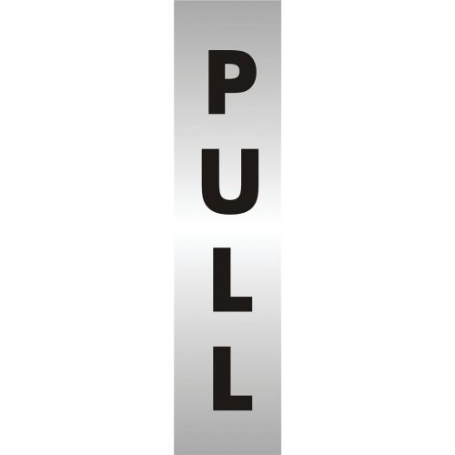 Stewart Superior Pull Sign Brushed Aluminium Acrylic W45xH190mm Self-adhesive Ref bac127