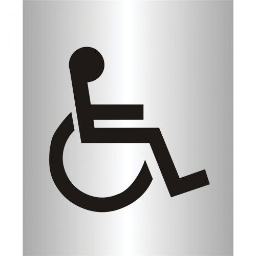Stewart Superior Disabled Logo Sign Brushed Aluminium Acrylic W115xH150mm Self-adhesive Ref bac103