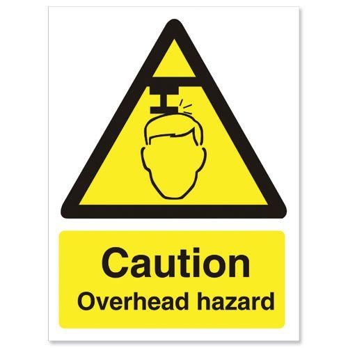 Stewart Superior Caution Overhead Hazard Sign W150xH200mm Self-adhesive Vinyl Ref WO132SAV