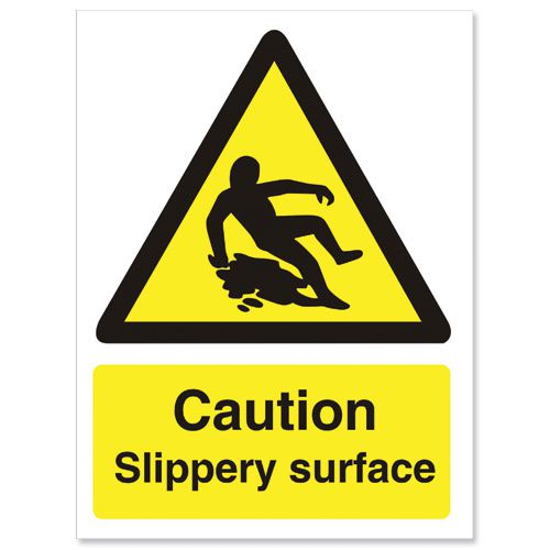 Stewart Superior Caution Slippery Surface Sign W150xH200mm Self-adhesive Vinyl Ref WO134SAV STF2019