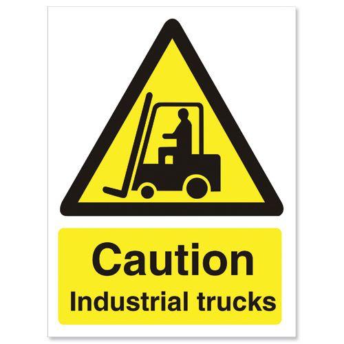 Stewart Superior Caution Industrial Trucks Sign  W150xH200mm Self-adhesive Vinyl Ref WO135SAV