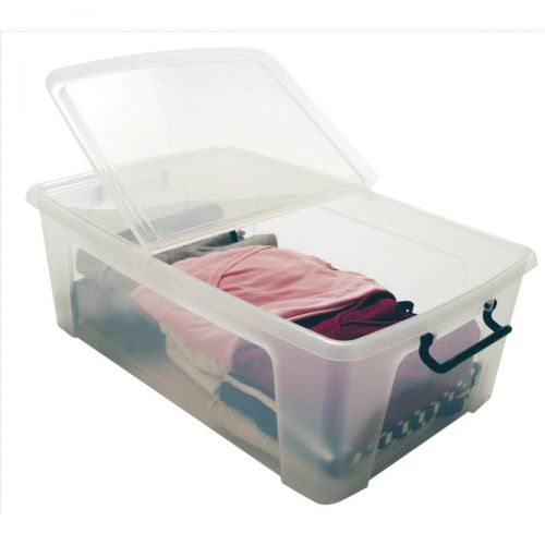 Strata Smart Box Clip-On Folding Lid Carry Handles 50 Litre Clear Ref HW675CLR