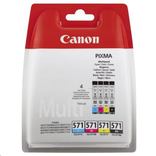 Canon CLI-571 Inkjet Cartridges Page Life 349pp 7ml Cyan/Magenta/Yellow/Black Ref 0386C005 [Pack 4]