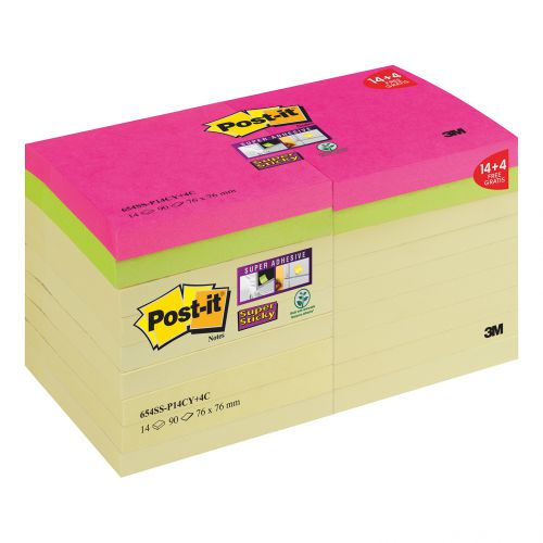 Post-it Super Sticky Notes Pk 18