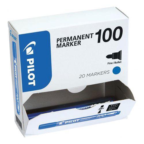 Pilot 100 Permanent Marker Bullet Tip 4.5mm Tip 1mm Line Blue Ref 3131910501275 [Pack 15&5 Free]