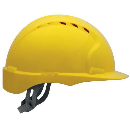 JSP EVO2 Safety Helmet HDPE 6-point Polyethylene Harness EN397 Standard Yellow Ref AJF030-000-200