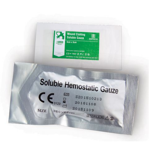 Cut-Eeze Haemostatic Soluble Dressing Gauze 5x5cm Ref CM0569 *Up to 3 Day Leadtime*