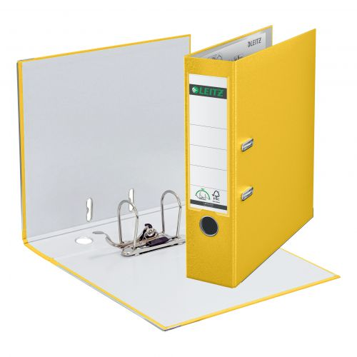 Leitz Lever Arch File Plastic 80mm Spine A4 Yellow Ref 10101015 [Pack 10]