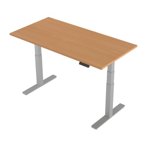 Trexus Sit-Stand Desk Height-adjustable Silver Leg Frame 1600/800mm Beech Ref HA01003