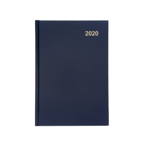 5 Star Office 2020 Diary Week to View Casebound and Sewn Vinyl Coated Board A5 210x148mm Blue