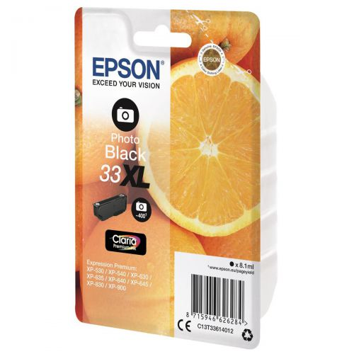 Epson T33XL Inkjet Cartridge Orange High Yield Page Life 400pp 8.1ml Photo Black Ref C13T33614012