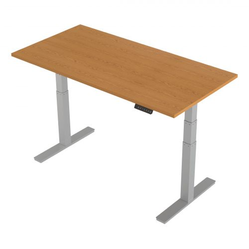 Trexus Sit-Stand Desk Height-adjustable Silver Leg Frame 1600/800mm Oak Ref HA01019