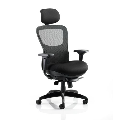 Adroit Stealth Shadow Ergo Posture Chair With Arms With Headrest Airmesh Seat Mesh Back Black Ref KC0158