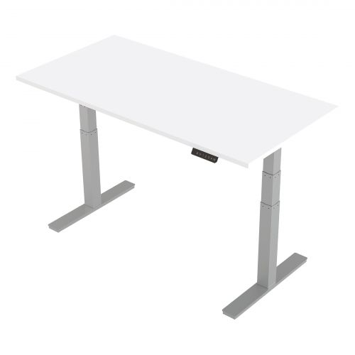 Trexus Sit-Stand Desk Height-adjustable Silver Leg Frame 1600/800mm White Ref HA01011