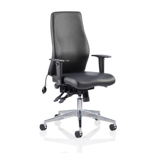 Adroit Onyx Posture Chair Black Leather 450x470-540x590-640mm Ref OP000099