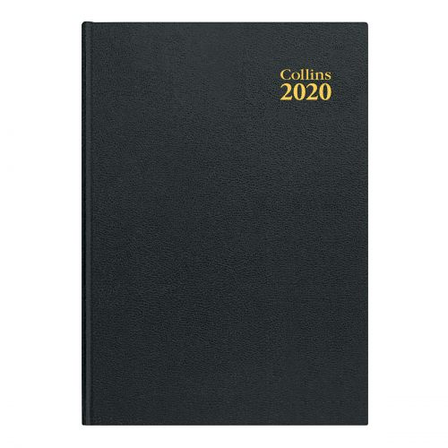 Collins 2020 Desk Diary Day to Page Sewn Binding A4 297x210mm Black Ref 44 Blk 2020