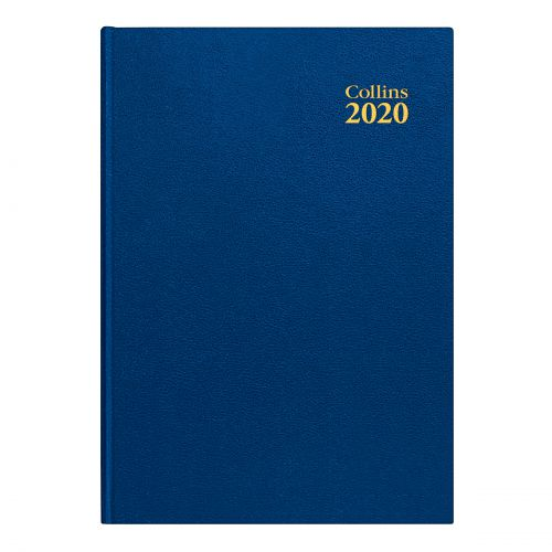 Collins 2020 Desk Diary Day to Page Sewn Binding A4 297x210mm Blue Ref 44 Blue 2020