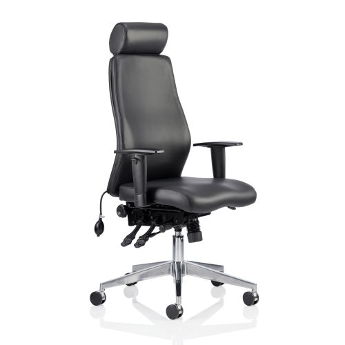 Adroit Onyx Posture Chair Head Rest Black Leather 450x470-540x590-640mm Ref OP000098