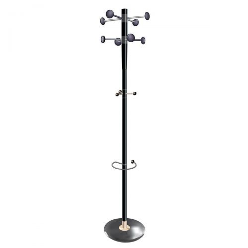 5 Star Facilities Decorative Coat Stand Umbrella Holder 8 Pegs 3 Hooks Base 380mm Height 1840mm Black