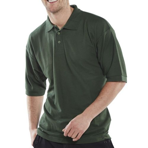 Click Workwear Polo Shirt Polycotton 200gsm L Bottle Green Ref CLPKSBGL *Up to 3 Day Leadtime*