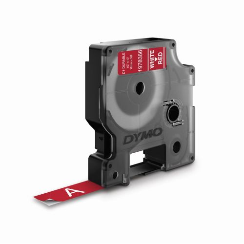 Dymo D1 Wht/Red 12mmx3m Label Tape