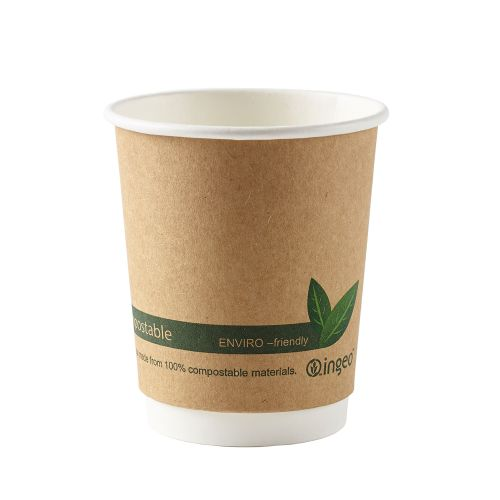 Dispo Kraft Paper Cups 8oz Double Wall PLA Ref 44881 [Pack 25]