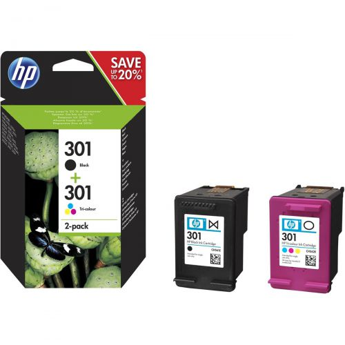 Hewlett Packard [HP] 301 Ink Carts Page Life Black 190pp Tri-Colour 165pp 3ml Ref N9J72AE [Pack 2]