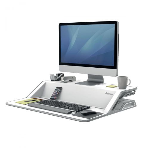 Fellowes Lotus Sit-Stand Workstation Lift Technology 22 Height Adjustments White Ref 9901 [REDEMPTION]