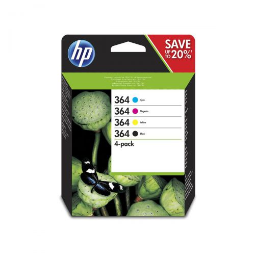Hewlett Packard [HP] No.364 InkCartridges PageLifeBlack 250pp C/M/Y 300pp Tri-Colour Ref N9J73AE [Pack 4]