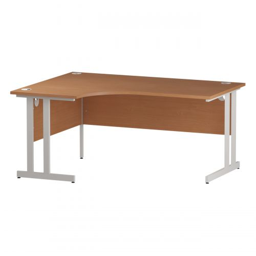 Trexus Radial Desk Left Hand White Cantilever Leg 1600mm Beech Ref I001875