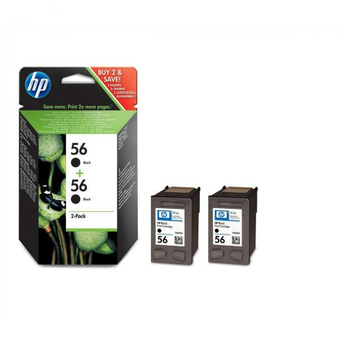 Hewlett Packard [HP] No.56 Inkjet Cartridge Page Life 520pp 19ml Black Ref C9502AE[Pack 2]