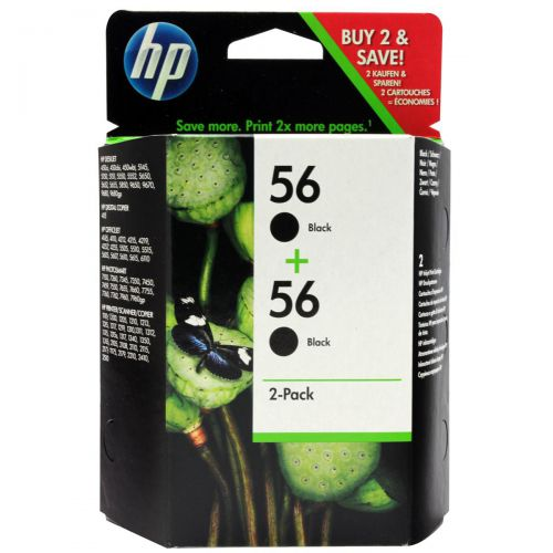 Hewlett Packard [HP] No.56 Inkjet Cartridge Page Life 520pp 19ml Black Ref C9502AE[Pack 2]