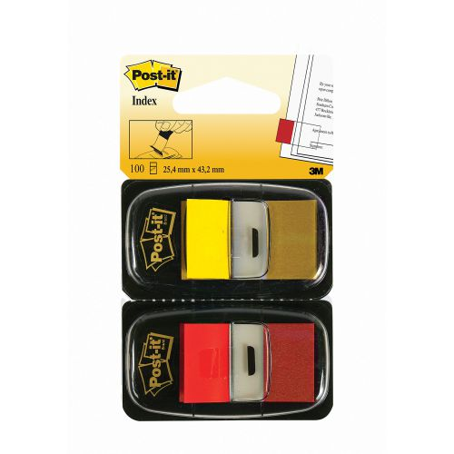 Post-it Red/Yellow Index 1in Pk2