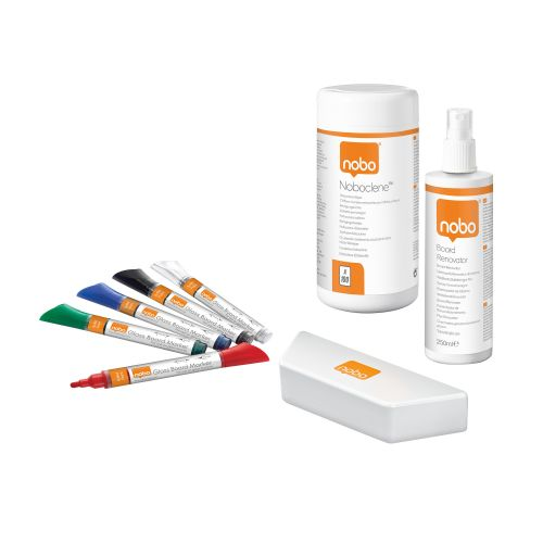 Nobo Whiteboard User Kit 4 Markers Eraser Refills Absorbent Cloths and 125ml Cleaning Spray Ref 1901430