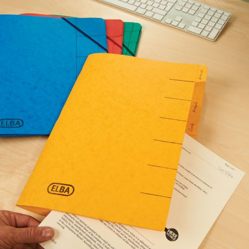 Elba Boston Part File 320gsm Manilla Elasticated 7-Part Foolscap Red Ref 100090171 [Pack 5]