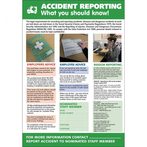 Ssuperior Accident Reporting Lam Poster                      W420xH595mm Ref HS108