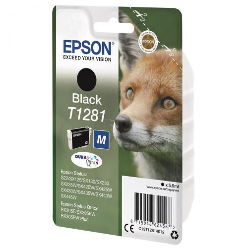 Epson T1281 Inkjet Cartridge Fox Page Life 190pp 5.9ml Black Ref C13T12814012