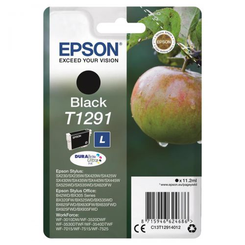 Epson T1291 Inkjet Cartridge Apple L Page Life 380pp 11.2ml Black Ref C13T12914012