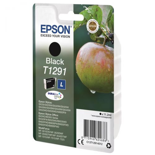Epson T1291 Inkjet Cartridge Apple L Page Life 380pp 11.2ml Black Ref C13T12914012