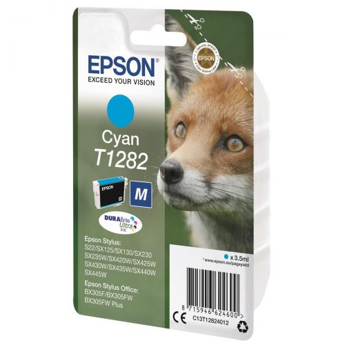 Epson T1282 Inkjet Cartridge Fox Page Life 250pp 3.5ml Cyan Ref C13T12824012