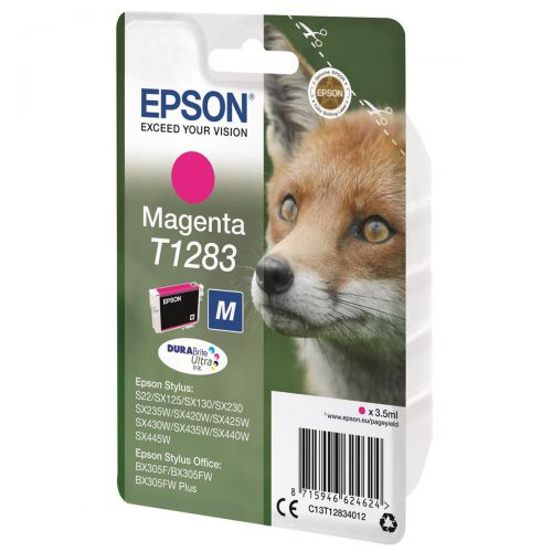Epson T1283 Inkjet Cartridge Fox Page Life 150pp 3.5ml Magenta Ref C13T12834012