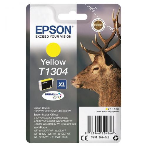 Epson T1304 Inkjet Cartridge Stag XL 1005pp 10.1ml Yellow Ref C13T13044012
