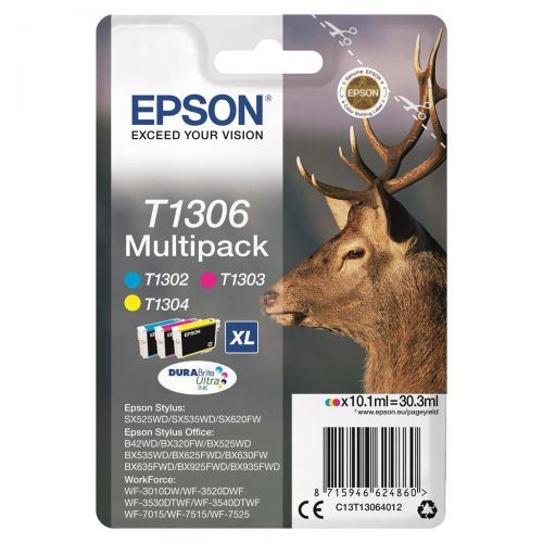 Epson T1306 InkjetCart StagXLPageLife 765ppCyan/600ppMag/Yell1005pp 10.1ml Ref C13T13064012 [Pack 3]