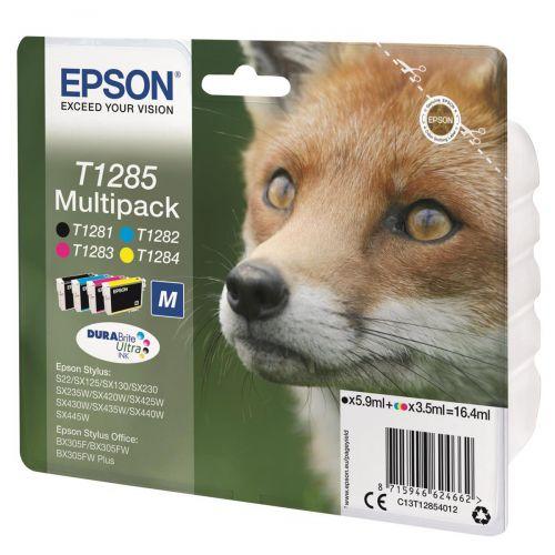 Epson T1285 Inkjet Cart Fox Blk190pp/ Cyan250pp/Mag 150pp/Yell 230pp 16.4ml Ref C13T12854012 [Pack 4]
