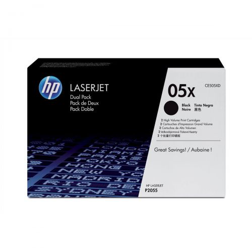 HP 05X Laser Toner Cartridge Page Life 13000pp Black Ref CE505XD [Pack 2]