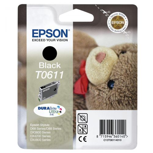 Epson T0611 Inkjet Cartridge Teddybear Page Life 250pp 8ml Black Ref C13T06114010